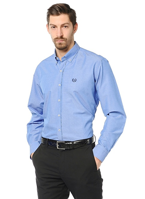 Dewberry Slim Fit Uzun Kollu Gömlek Mavi